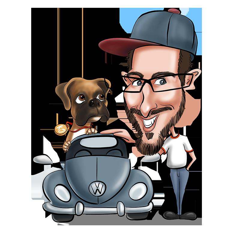 Caricature d'un homme avec une mise en scène de la voiture et du chien